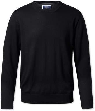 Charles Tyrwhitt Black Merino Wool Crew Neck Sweater Size Small