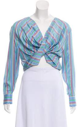 Esteban Cortazar Striped Crossover Top w/ Tags