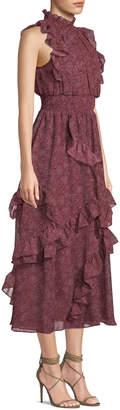 AVEC LES FILLES Ruffle Dot Maxi Dress