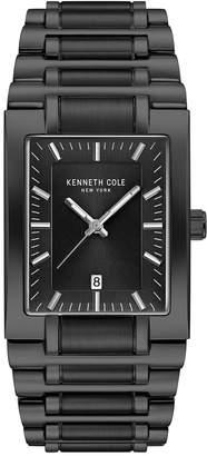 Kenneth Cole New York Men Black Stainless Steel Tank Bracelet Watch 40mm