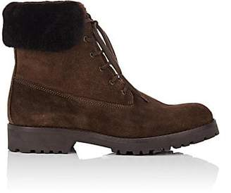Barneys New York WOMEN'S SHEARLING-TRIMMED SUEDE ANKLE BOOTS - LT. BROWN SIZE 6