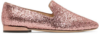 Jimmy Choo Pink Glitter Jaida Loafers