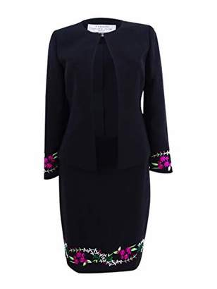 Tahari by Arthur S. Levine Women's Collarless Open Embroidered Jacket and Skirt Suit