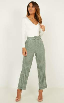 Showpo Eyes On The Road Pants In forest gingham - 6 (XS) Pants &