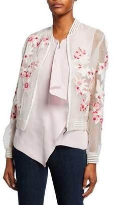 1eef200ebf4 Elie Tahari Brandy Embroidered Silk Bomber Jacket