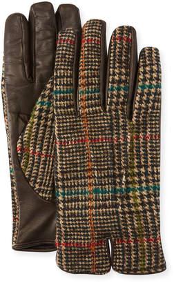 Etro Men's Plaid-Back Leather Gloves