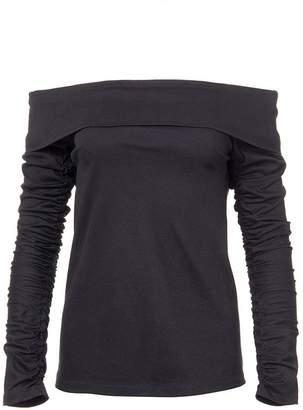 Tibi Mercerized Knit Off-Shoulder Ruched Sleeve Tee