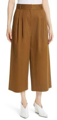 Tibi Bianca Tristan Crop Wide Leg Twill Pants
