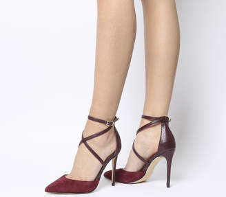 ecd293482638 Office Herald Cross Strap Point Court Heels Burgundy Suede