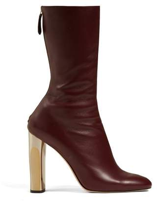 Alexander McQueen Leather Ankle Boots - Womens - Burgundy