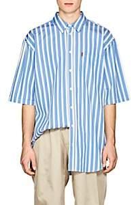 Martine Rose Men's Striped Cotton Oversized Shirt - Blue