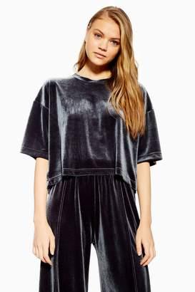 Topshop Navy Velvet Boxy Pyjama T-Shirt