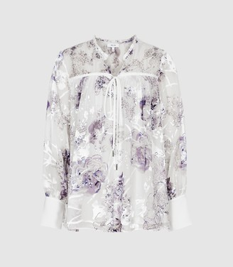 3990e3e05d79b3 Reiss Anneka - Floral Printed Smock Blouse in Blue/white