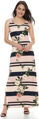 Women's Nina Leonard Floral Striped Maxi Dress