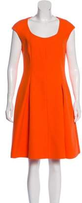 Fendi Scoop Neck Knee-Length Dress Orange Scoop Neck Knee-Length Dress