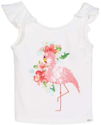 Mayoral Sequin Flamingo T-Shirt, Size 4-7