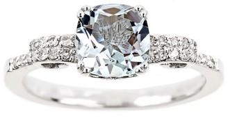 1.00 ctw Aquamarine & 1/10 cttw Diamond Ring, Sterling