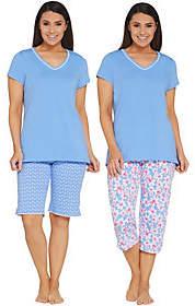 Carole Hochman Floral Blossoms Cotton Jersey3 pc Pajama Set