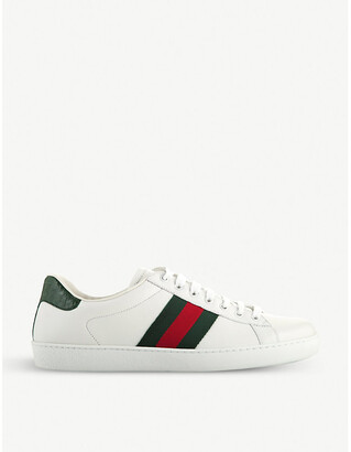 Gucci Ace webbing leather trainers