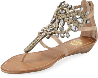 Premium Collection By Yellow Box P-Araminta Embellished Wedge Sandal, Neutral