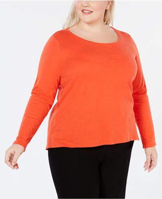 Eileen Fisher Plus Size Scoop-Neck Organic Cotton Top