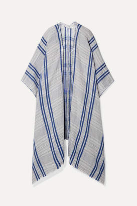 By Malene Birger Checked Linen And Cotton-blend Wrap - Light blue