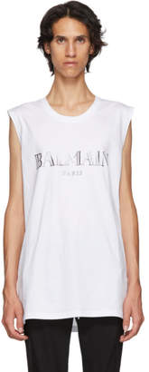 Balmain White and Silver Logo Tank Top