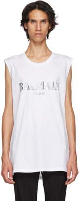 Balmain White and Silver Logo Tank Top