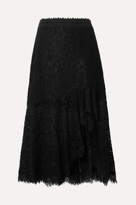 Alice + Olivia (アリス オリビア) - Alice + Olivia - Olimpia Crochet-trimmed Asymmetric Corded Lace Midi Skirt - Black