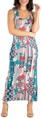 24/7 Comfort Apparel 24/7 Comfort Dresses Multicolor Floral Racerback Maxi Dress