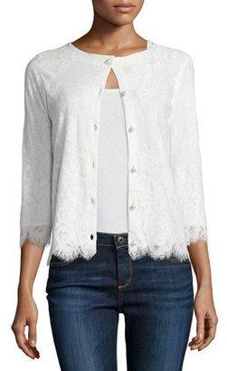 Michael Simon 3/4-Sleeve Lace Cardigan, Ivory, Petite $235 thestylecure.com