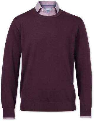 Charles Tyrwhitt Wine Merino Wool Crew Neck Sweater Size Large
