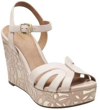 Clarks Artisan Floral Print Wedge Sandals - Amelia Page