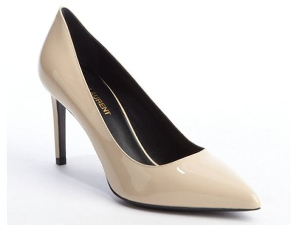Saint Laurent nude patent leather pointed toe pumps