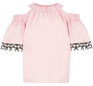 River Island Girls pink cold shoulder floral trim top