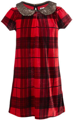 Epic Threads Toddler Girls Sequin-Collar Plaid Dress, Created for Macy's