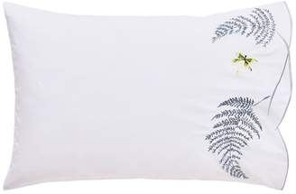 Designers Guild White Cotton Percale 200 Thread Count 'Acanthus' Embroidered Pillow Case