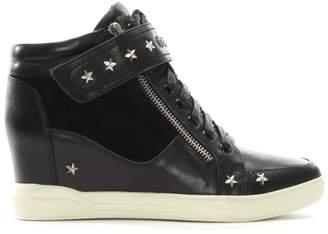 Daniel Pomfret Black Leather Star Embellished Wedge High Tops