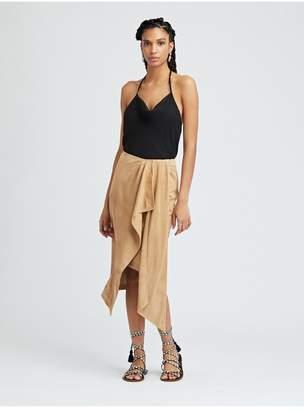 Oscar de la Renta Suede Wrap Skirt