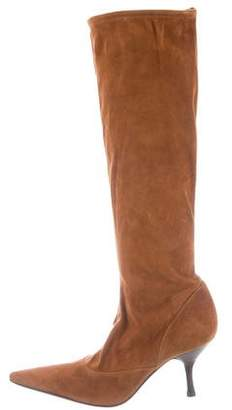 Sergio Rossi Suede Stretch Knee-High Boots