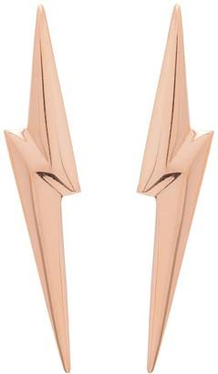 Lightning Bolt Edge Only 3D Pointed Earrings Gold