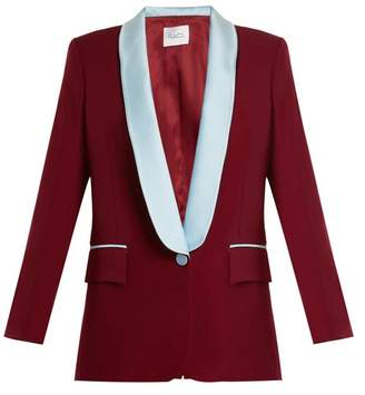 Racil New York Contrast Lapel Wool Blazer - Womens - Burgundy Multi