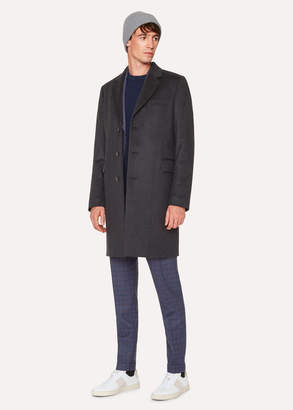 Paul Smith Men's Dark Grey Cashmere-Blend Overcoat