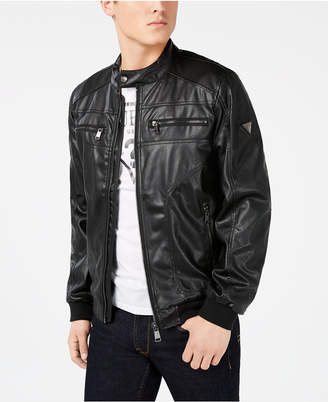 0dfaf5193 Guess Mens Faux Leather Jacket - ShopStyle