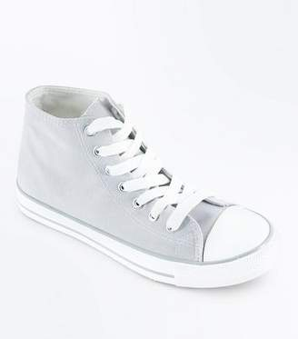 New Look Grey Canvas Stripe Sole High Top Trainers