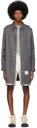 Thom Browne Grey Twill 4-Bar Snap Front Shirt Jacket
