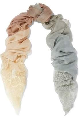 Valentino Chantilly Lace-Trimmed Dégradé Modal And Silk-Blend Scarf