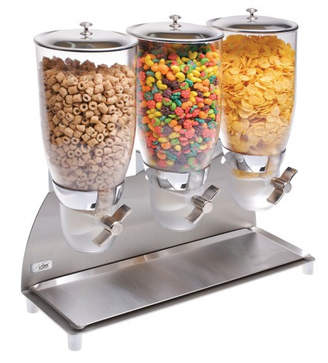 Cal-Mil 355 Oz. Triple Canister Cylinder Cereal Dispenser