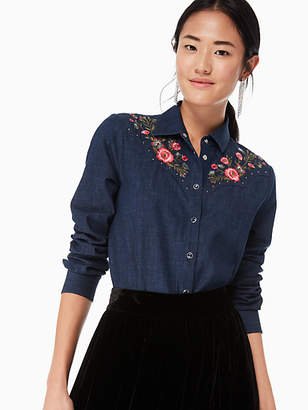 Kate Spade Embroidered Chambray Top, Dark Wash - Size L