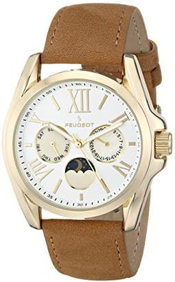 Peugeot Women's 3040GBR Gold-Tone Watch with Suede Strap